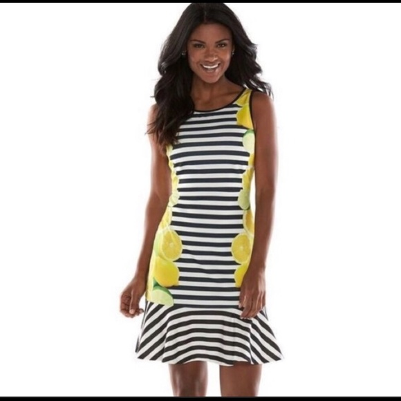 Elle Dresses & Skirts - Elle Lemon & Lime Black White Striped Dress